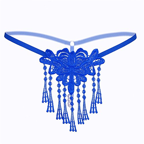 GQFGYYL Sexy Versuchung, t - Hosen, t - Shirts, Transparente bereiche, Bestickten Quasten, Damen - unterwäsche,Blau (Damen Shirt Bereich)