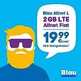 Blau Allnet L (SIM, Micro-SIM und Nano-SIM), ohne Vertragslaufzeit, 2 GB mit LTE, Allnet Flat Min./SMS in alle dt. Netze, EU-Vorteil, 19,99€/Monat, inkl. 20€ Startguthaben, O2 Netz preiswert