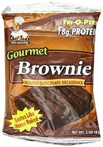 Chef Jay's Food Products Trioplex Brownie Double Chocolate Decadence, 3 oz. each, 12-Count Box by Chef Jay's
