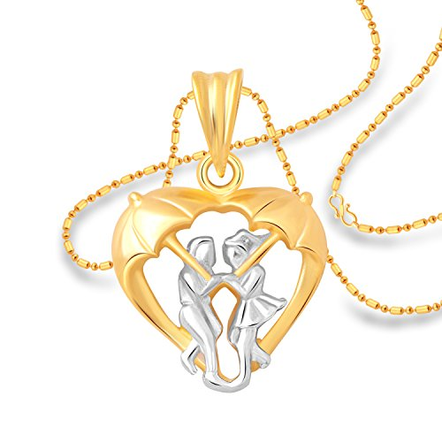 Vighnaharta GF BF Mansoon Heart Plain Gold and Rhodium Plated Alloy Pendant with Chain for Girls and Women - [VFJ1218PG]