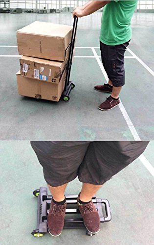 YiJee Carrello Pieghevole per Bagagli Capacità di Carico Max 50 Kg (Nero)