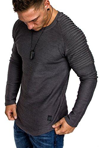 Amaci&Sons Oversize Vintage Herren Pullover Biker-Style Hoodie Sweatshirt Crew-Neck 6069 Iron L (Crew Sweatshirt Grau)