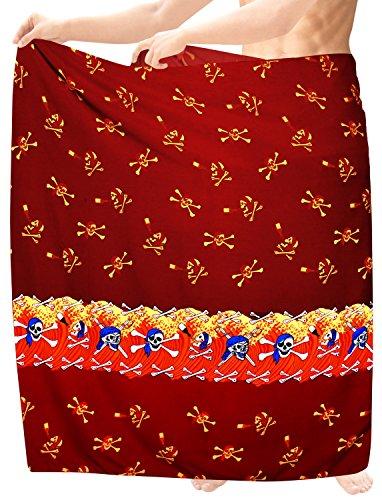 LA LEELA Schädel Kostüm Herren Strand Sarong Pool Bademode Strandtuch Pareo Swim Wrap Badeanzug Halloween Kürbis Teufel Kostüm 78X39 Rot_Q64