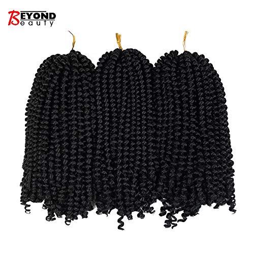 3 Pack Spring Twist Ombre Farben Häkeln Zöpfe Synthetische Flechten Haarverlängerungen Niedrige Temperatur Faser #1B - Synthetische Haarverlängerungen