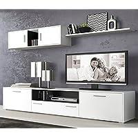 LIQUIDATODO ® - Muebles de salon modernos y baratos en color blanco/grafito - dimas