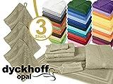Frottiertücher der Serie Opal - erhältlich in 33 modernen Farben und 7 verschiedenen Größen -Markenqualität von Dyckhoff, 1 Pack (3 Stück) - Waschhandschuhe [16 x 21 cm], leinen