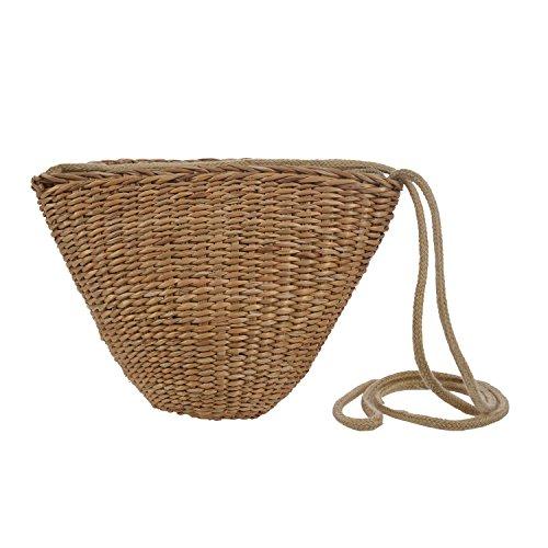 SODIAL Sac de plage bohemien de femme en paille tisse a la main, Petit sac a bandouliere en paille, Pochette mignonne de rangement voyage
