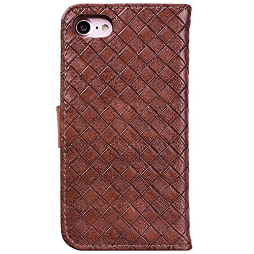 WE LOVE CASE Coque iPhone 7 Plus/iPhone 8 Plus, Étui en Cuir a Rabat de Protection Housse Étui iPhone 7 Plus Portefeuille Motif, Coque avec Rabat Personnalise Girly Fonction Support Stand Fente Carte  Marron