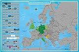 blupalu I XXL Europakarte Zum Rubbeln mit Länder-Flaggen I Rubbel-Chip I Landkarte Zum Freirubbeln I Sehenswürdigkeiten I 89 x 59 cm | Deutsch | Poster