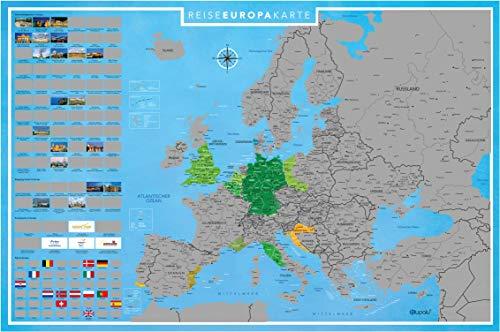 blupalu I XXL Europakarte zum Rubbeln I Silber I mit Länder-Flaggen I Rubbel-Chip I Landkarte zum Freirubbeln I 89 x 59 cm | Deutsch (Ich Begann Als Kind)