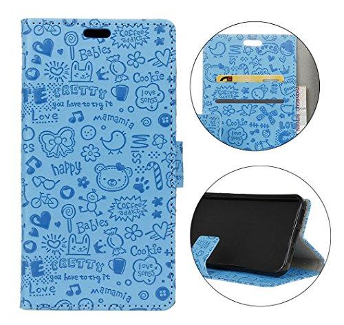 Sunrive Hülle Für DOOGEE BL5000,Magnetisch Schaltfläche Ledertasche Schutzhülle Etui Leder Case Handyhülle Taschen Schalen Handy Tasche Lederhülle(Karikatur Prägung blau)+Gratis Eingabestift