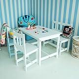lounge-zone SET: Kindertisch + 2 Kinderstühle - lounge-zone Kindersitzgarnitur Kindersitzgruppe Sitzgruppe Kinder Set Kindertisch und 2 Kinderstuhl LA MER Massivholz Holz weiß MADE IN EU 1082