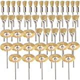 SHINA 45tlg in ottone spazzole spazzola metallica spazzola metallica Set Disco Set lucidatura Proxxon Dremel in acciaio spazzole lucidatura fette spazzola rotonda spazzola codolo attacco Ø 3,17mm