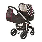 Hauck 4007923146057 Kinderwagen-Set Malibu All in One - Dots, XL, schwarz