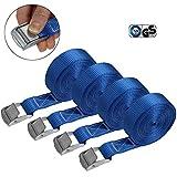 Cinghia di fissaggio Cinghie di tensione - blu - 2,5m 4m 6m - diverse quantità, sicura del carico resistenza fino a 250 kg DIN EN 12195-2, 4 pezzi 2.5 cm x 6 m