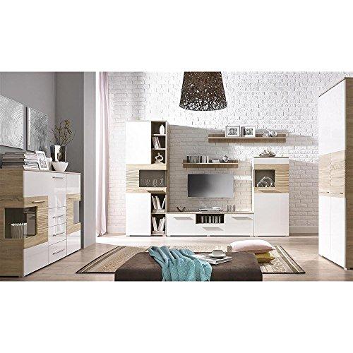 JUSThome In Line LUX Wohnwand Anbauwand Schrankwand Farbe: Sonoma Eiche / Weiß Hochglanz