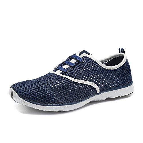 SAGUARO® Badeschuhe Wasserschuhe Atmungsaktives Mesh-oberfläche Lace Up Schuhe Schnell Trocknender Aquaschuhe für Damen Herren, Marine Blau 43