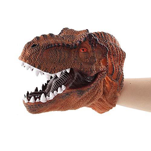 Kobwa marionetta morbida gomma realistico tirannosauro rex dinosauro peluche marionetta per adulti e bambini, halloween, natale, regalo di compleanno tyrannosaurus rex - orange