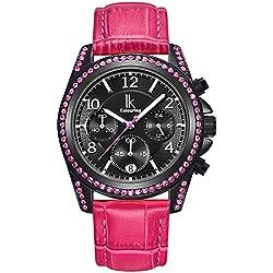 Alienwork Quarz Armbanduhr Multi-funktion Quarzuhr Uhr modisch Strass schwarz rosa Kunstleder K001GA-07