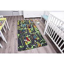Primaflor | Alfombra infantil de juego | CITY 1,40 x 2,00 | moqueta bebé y jugar diseño de ciudad con carreteras