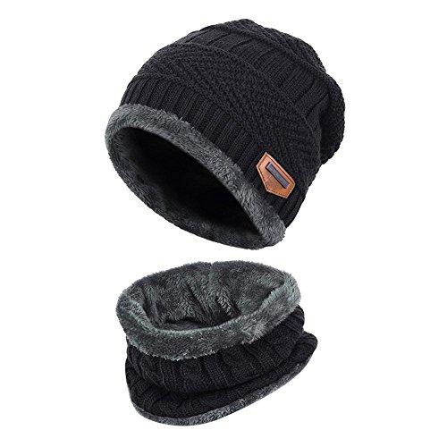 Alando warm Kinder Outdoor Sport Wintermütze Strickmütze kuschlig Schal mit Loop (Schwarz) -
