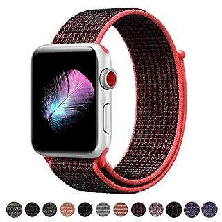 HILIMNY Für Apple Watch Armband 42MM, Ersatz für iwatch Armband Series 3, Series 2, Series 1 (Bright Crimson/Schwarz, 42MM)