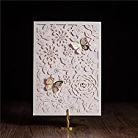 Wishmade Elegante Taglio Laser Farfalla Matrimonio Inviti e biglietti di auguri Baby o sposa doccia inviti cw5192 white pink