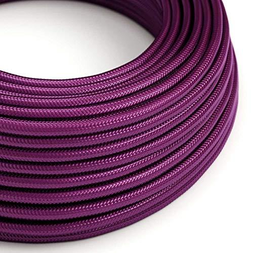 creative cables Textilkabel rund, Farbe Violet mit Seideneffekt, RM35-5 Meter, 3x0.75