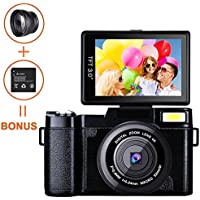 Digital Camera Camcorder, Weton Full HD 1080P Video Camera 24.0MP 3.0 Inch Flip Screen Vlog Camera LCD Mini Camcorders with Wide Angle Lens and Flash Light (Two Batteries Included)