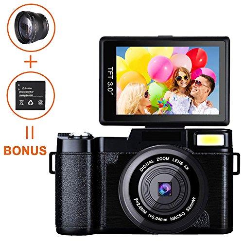 Weton, fotocamera digitale e videocamera, Full HD 1080p, video camera da 24.0MP, 7,6cm con schermo LCD mini, obiettivo grandangolare e flash (due batterie incluse)