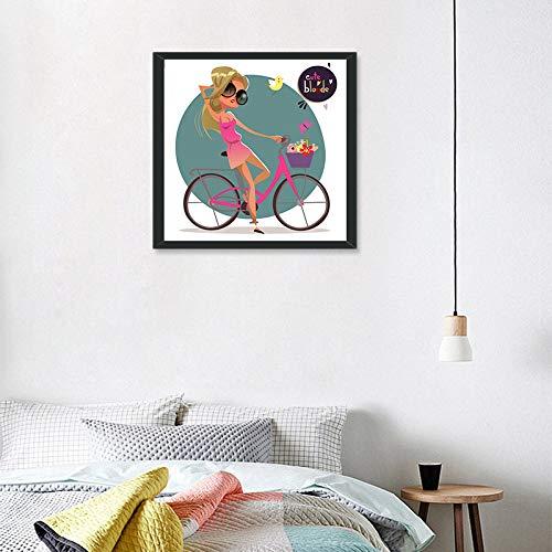 yiyitop Nette Blondine mit Sonnenbrille Leinwand Kunstdruck Poster Gemälde Wandbilder für Zuhause Wohnzimmer Dekorative mädchen Room Decor 40 * 40 cm kein Rahmen
