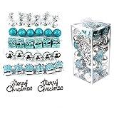 32pcs Weihnachtskugel Dekorationen Kunststoff Frohe Weihnachten Kugeln Ornament splitterfrei Weihnachten dekorative Anhänger Hängedekor für Festival Urlaub Hochzeit Party Zubehör - Türkis