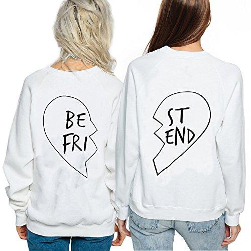 *Best Friend Pullover für 2 Mädchen Hoodie Damen Schwarz mit Aufdruck Sweatshirt Weiß Baumwolle Pulli Geschenk Süß 2 Stücke JWBBU® (BE-M+ST-XXL, Weiß)*