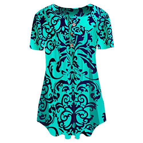 Bellelove Damen Tunika Top Kurzarm Locker Langarm Rundhalsausschnitt Knopfleiste Plissiert Floral Henley Shirt Bluse T Shirt - Petite Print Halter Top