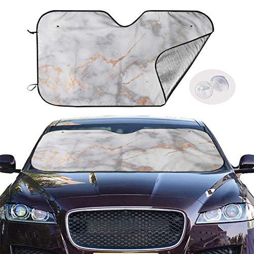 ghkfgkfgk Car Windshield Sun Shade SUV Trucks Automotive Minivan UV Ray Heat Reflector Visor Protector Front Window Sunshade-Metal Marble Rose Gold Metal Protector