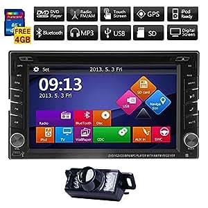 """Windows8 UI 6.2 """"écran TFT Double 2Din Touch HD 800 * 480 In-Dash DVD Player voiture GPS Interface Bluetooth Navigation iPod TV analogique 3D + 4GB gratuit officiel Kudos Carte Carte de l'Europe de l'Ouest + caméra de recul PAL"""