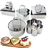 5Pcs Edelstahl Kuchen Ring Set, HULISEN 8 * 4CM Mousse und Gebäck Mini Cooking Ring Form mit Pusher