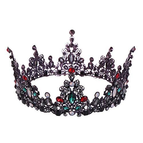 o Barock Hochzeit Braut Krone Tiara Perlen Königin Krone Tiara Kopfschmuck Headban Jeweled Crown Hochzeitsfeier (Color : Multi-Colored, Size : 14 * 7cm) ()