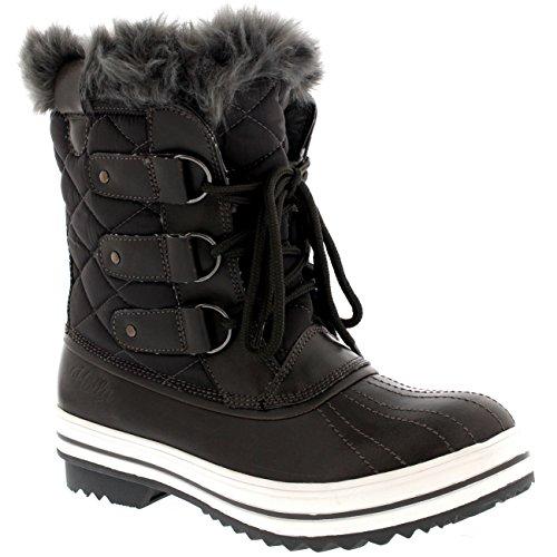 Damen Schnee Stiefel Nylon Short Schnee Pelz Regen Wasserdicht Stiefel - Grau - 39 - CD0034