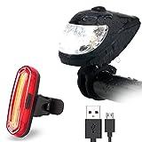 FisherMo LED Fahrradlicht Set, Intelligentes Lichtsensor Fahhradbeleuchtung mit Fahrrad Rücklicht USB Aufladbare 400 Lumen, IPX6 Wasserdicht für Außen