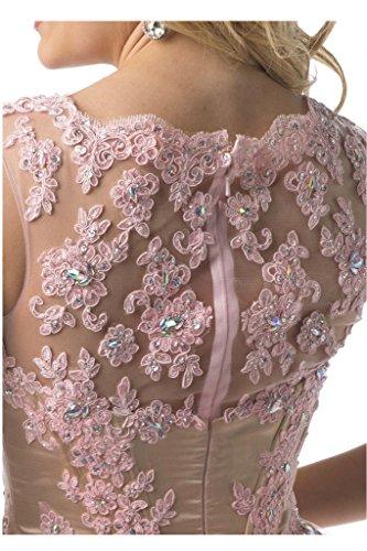 Victory Bridal Stickreien Spitze Cocktailkleider Kurz Abendkleider Tanzenkleider A-linie Mini Rock Rosa