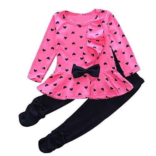 Geschichte Mädchen T-shirt (Oyedens Baby Mädchen Langarm Shirt + Hosen, Warme Outfits Mädchen Herzförmige Bogen Gedruckt T-Shirt Set Kinder Geschichten)