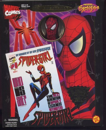 Previews Exclusive: Famous Cover Series:Spider-Girl, The Daughter of Spider-Man, 8 Ultra Poseable Action Figure with Authentic Fabric Costume by Toy Biz