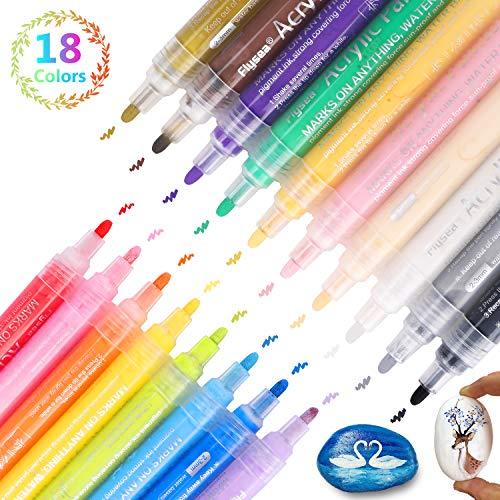 rker Stifte,18 Farben Premium Wasserfest Paint Marker Set Wasserfest Permanent Art Filzstift Acrylic Painter für DIY Stein, Leinwand, Papier, Glasmalerei, Metall, Fotoalbum UVM ()