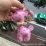 a9624d87e Llavero Cute Giraffe Forma Metal Cuero De Avestruz Patrón Coche Key Ring Señoras  Bolso Joyas Colgante