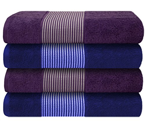 Küchen Schwarz Handtücher Frottee (Liness-Stripes 4 tlg Handtuch-Set blau lila 4 Handtücher 50 x 100 Baumwolle blau lila)
