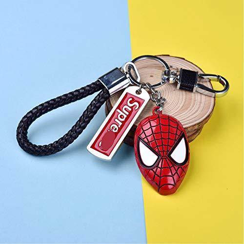 gfjfd Schlüsselanhänger Avengers Metall Auto Schild Schlüsselanhänger, Thor Hammer, Spiderman mask