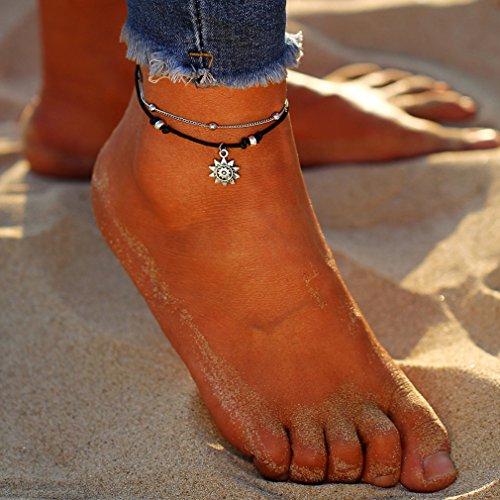 Yesiidor Fußkettche Damen Silber Kugel Fußketten Sonne Muster Fuß Ketten