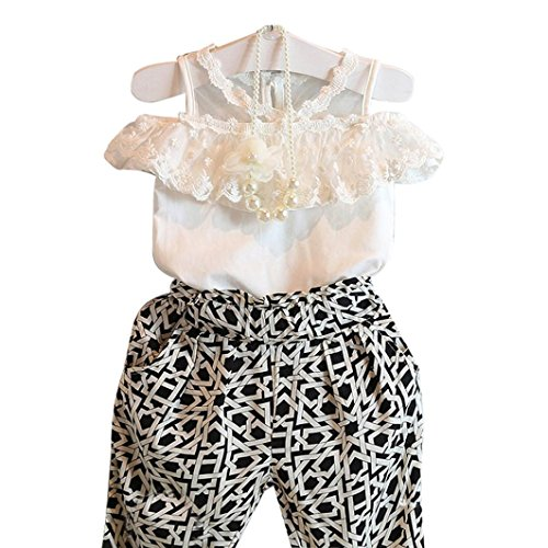 Vovotrade® Ragazze dei capretti Plaid senza spalline in pizzo Sling shirt Top Pantalone Set (130)