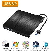 Estmoon Externes CD DVD Laufwerk USB 3.0, USB DVD Laufwerk DVD Brenner CD Brenner für MacBook, MacBook Pro, MacBook Air, iMac OS, Windows 7/8/10/Vista/XP (Schwarz)